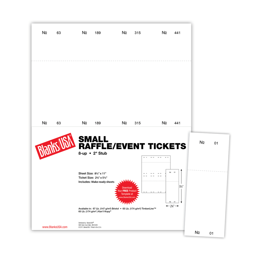 small raffle event ticket ts 8 blanks usa