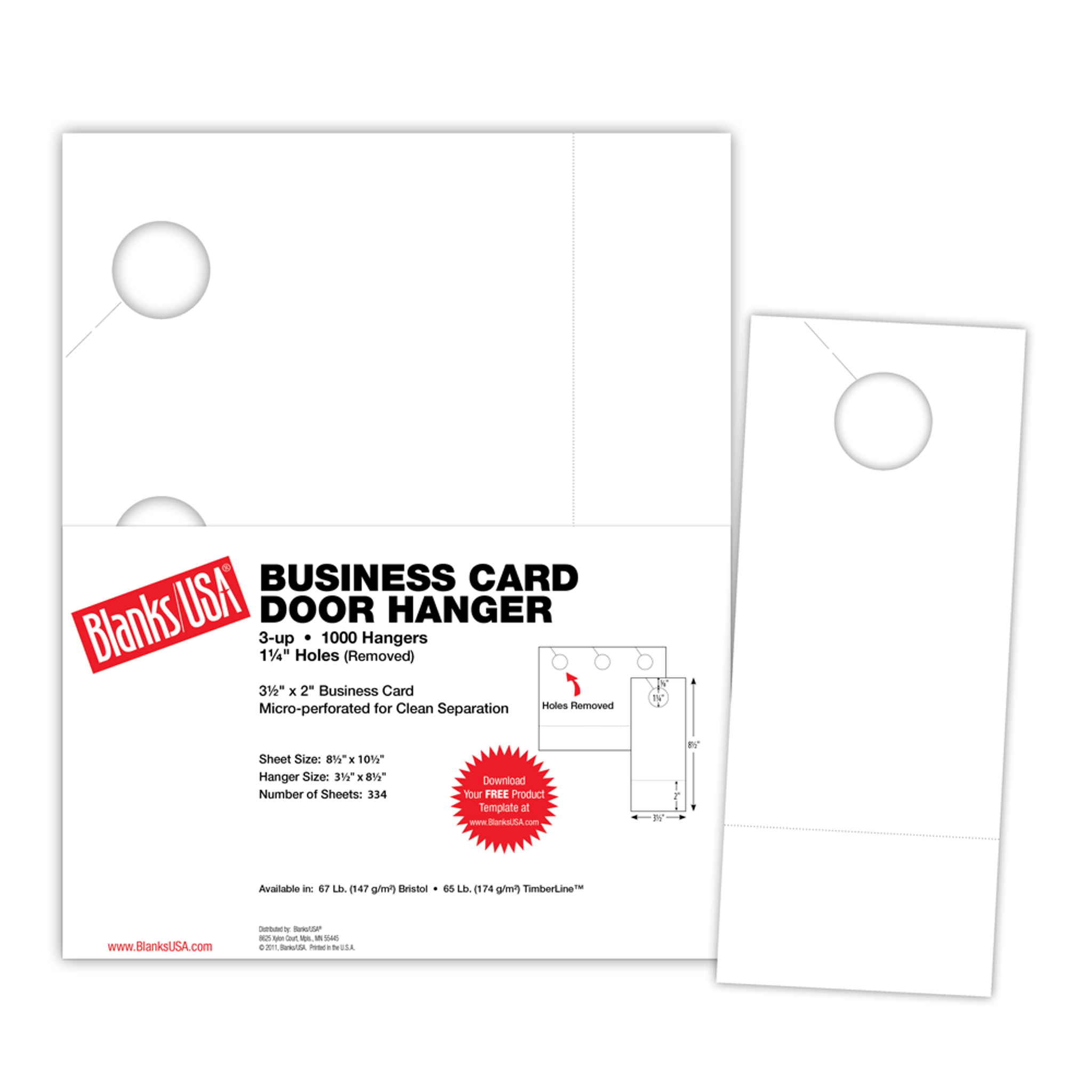 Door Hanger with Business Card - DHBC10B63 - Blanks USA