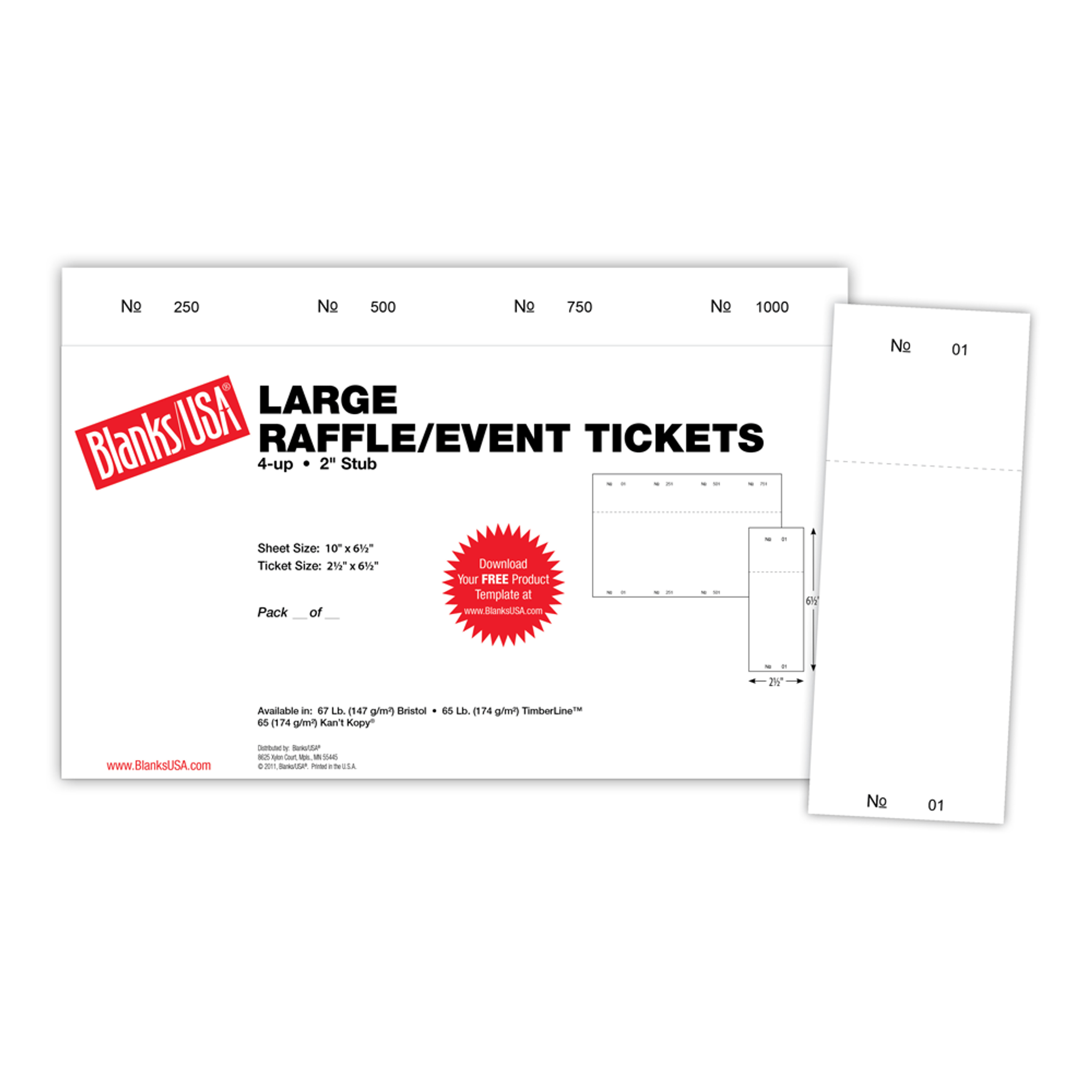 large event raffle ticket tl10 4 blanks usa