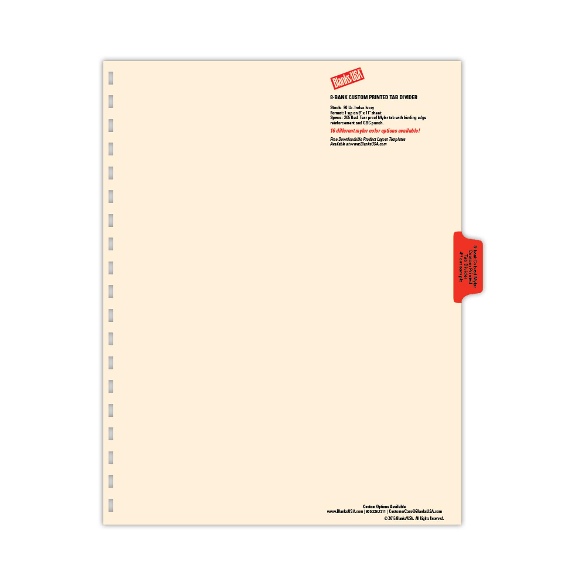 Copytab And Tab Divider Sample Bag Sampct Blanks Usa