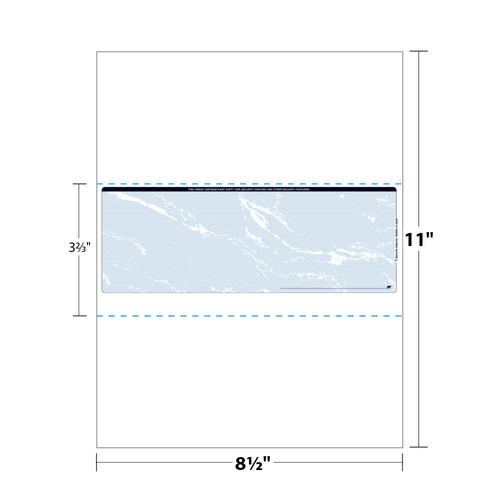 "8.5"" x 11"" Paper with Void Security Check in Middle with 9 Features, 60 Lb. Offset, 100 Checks"