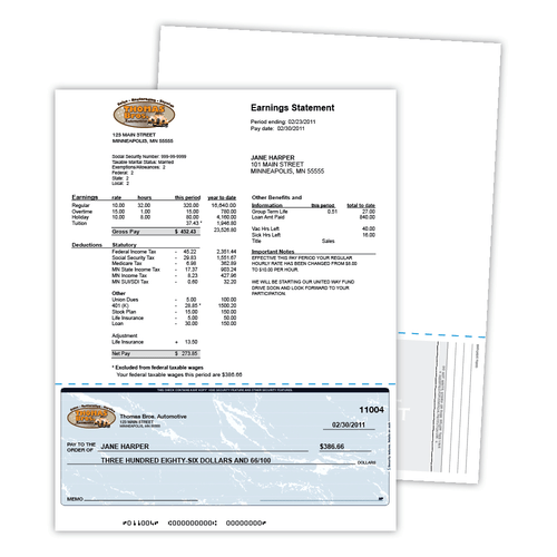 "8.5"" x 11"" Paper with Void Security Check on Bottom with 9 Features, 60 Lb. Offset, 100 Checks"