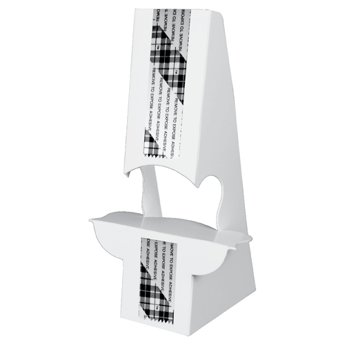 """10"""" Double Wing Easel with Peel and Stick Adhesive, White 24 Pt. SBS Board, 50/Pack"""