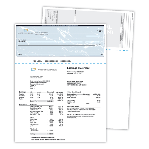 "8.5"" x 11"" Paper with Void Security Check on Top with 9 Features, 60 Lb. Offset, 500 Checks"