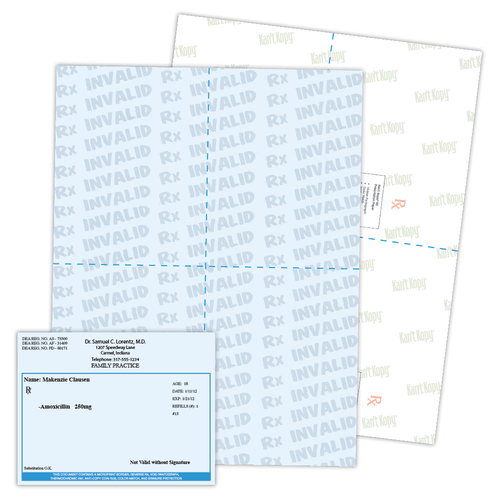 Kan't Kopy® K2 Perforated Prescription Paper with 13 Features