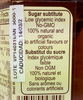 Detail of benefits label from Agave Nectar with