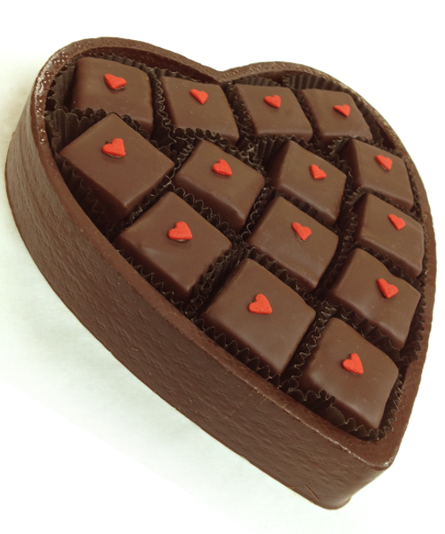 Angled view of Love Supreme Heart by Ü Chocolate for the World