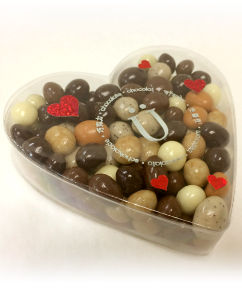 Valentine's Day Espresso Bean Gift Box featuring Six Varieties of Chocolate-covered Espresso Beans by Ü Chocolate for the World