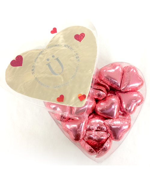 Open box of Valentine's Day Dark Chocolate Hearts by Ü Chocolate for the World