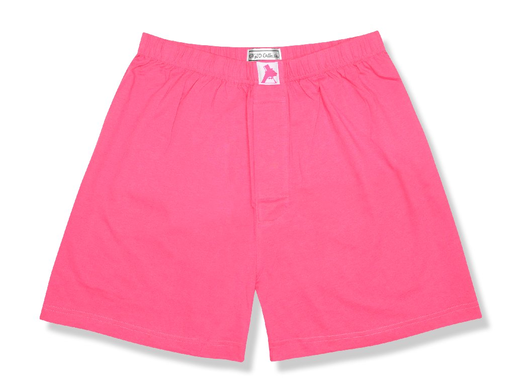Biagio Men's Solid HOT PINK FUCHSIA Color BOXER 100% Knit Cotton Shorts