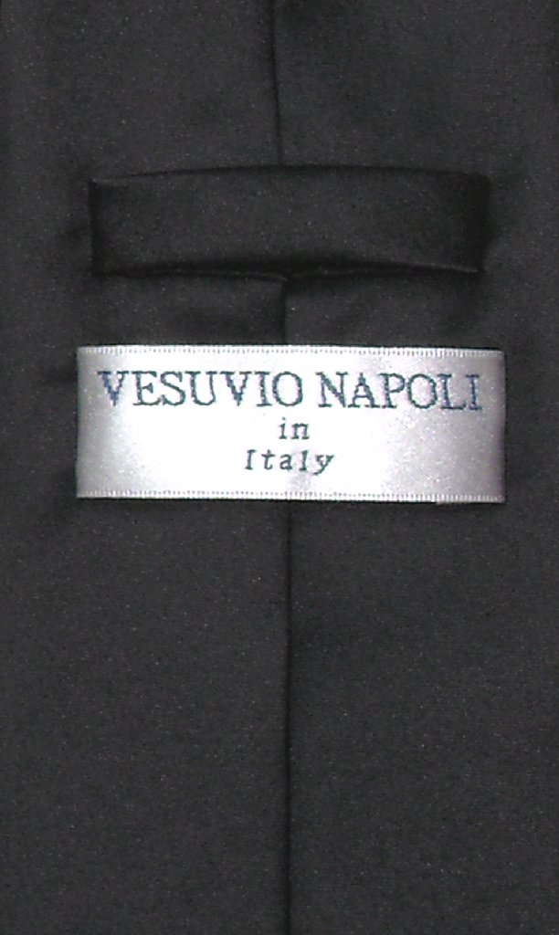 Vesuvio Napoli NeckTie Solid BLACK Color Men's Neck Tie
