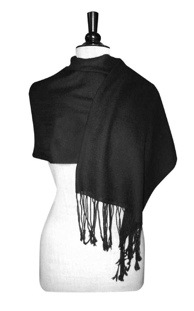 Biagio 100% Wool Pashmina Solid Scarf BLACK Color Women's Shawl Wrap Scarves
