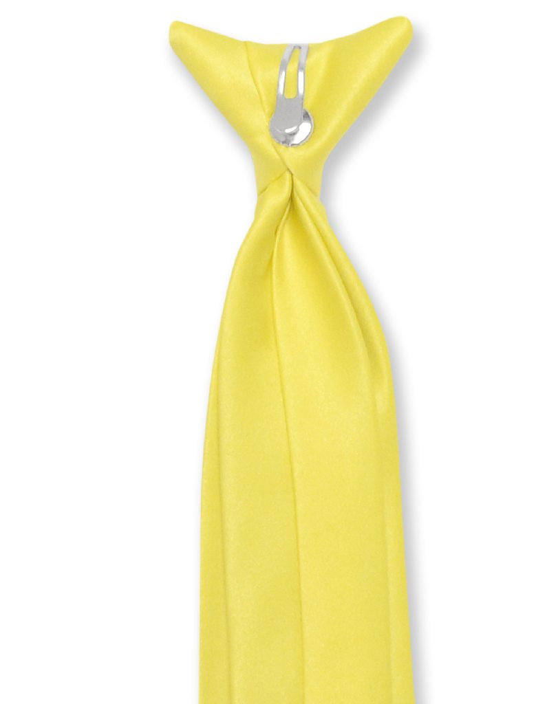 Vesuvio Napoli Boy's CLIP-ON NeckTie Solid GOLDEN YELLOW Color Youth Neck Tie