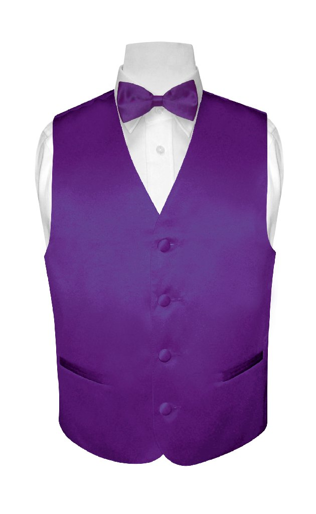 BOY'S Dress Vest & BOW TIE Solid PURPLE INDIGO Color Bow Tie Set