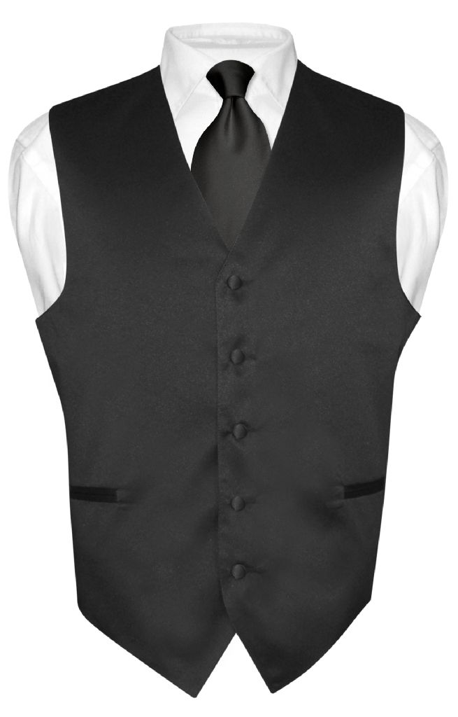 Men's Dress Vest & NeckTie Solid BLACK Color Neck Tie Set for Suit or Tuxedo