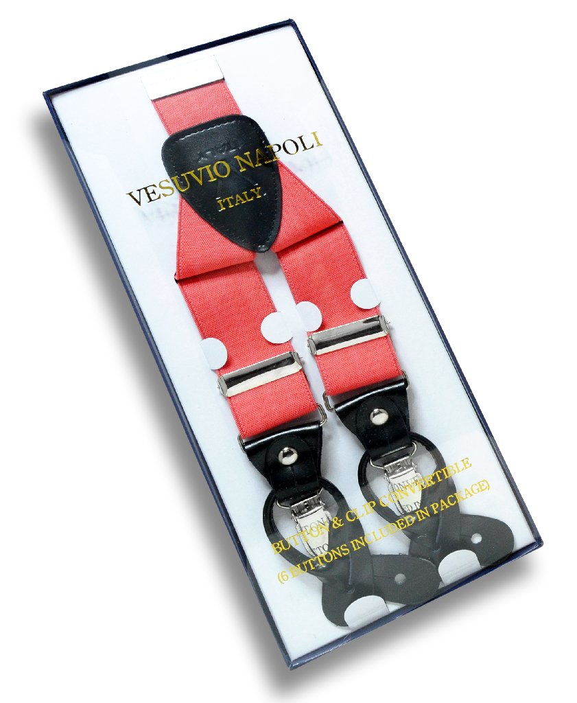 Men's Solid CORAL PINK SUSPENDERS Y Shape Back Elastic Button & Clip Convertible