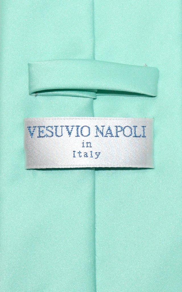 Vesuvio Napoli Solid AQUA GREEN Color NeckTie & Handkerchief Men's Neck Tie Set