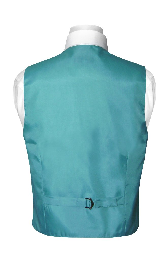 BOY'S Dress Vest & NeckTie Solid TURQUOISE AQUA BLUE Color Neck Tie Set