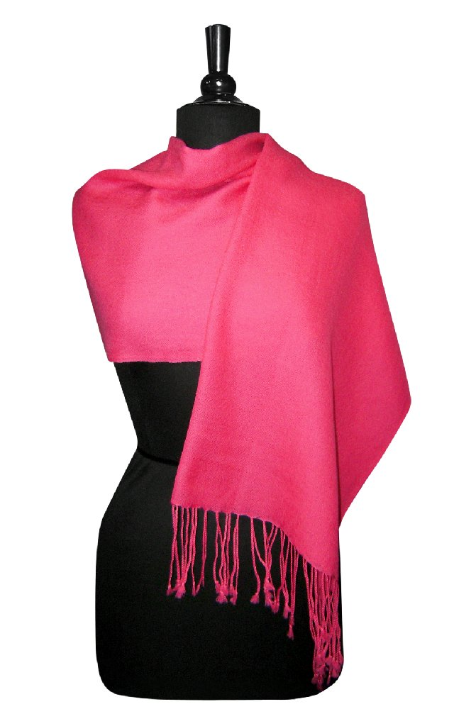 Biagio 100% Wool Pashmina Solid Scarf Hot Pink Fuchsia Color Women's Shawl Wrap