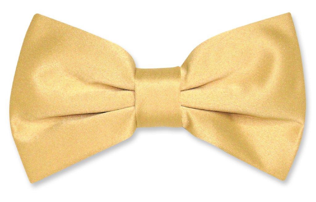 Vesuvio Napoli BOWTIE Solid GOLD Color Men's Bow Tie for Tuxedo or Suit