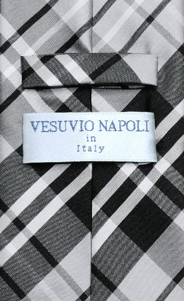 vesuvio napoli necktie black gray white plaid design mens
