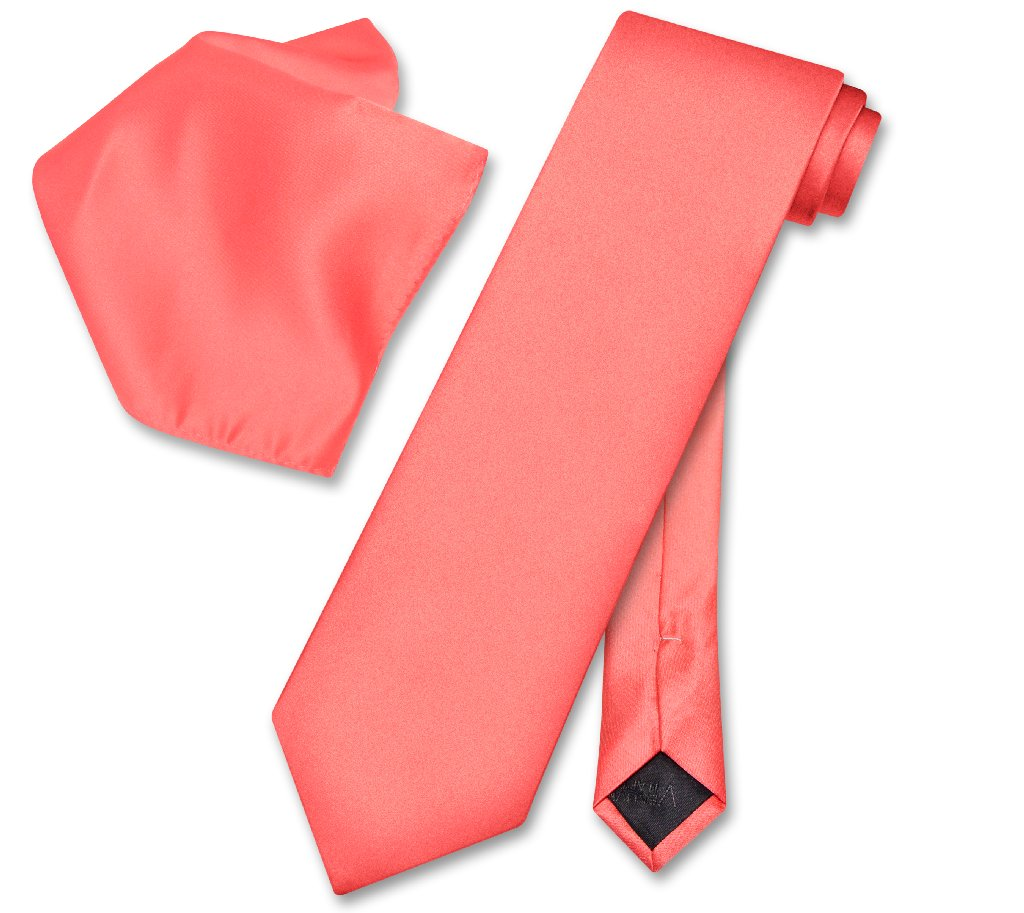 Vesuvio Napoli Solid CORAL PINK Color NeckTie & Handkerchief Men's Neck Tie Set
