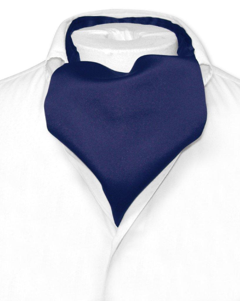 Vesuvio Napoli ASCOT Solid NAVY BLUE Color Cravat Men's Neck Tie