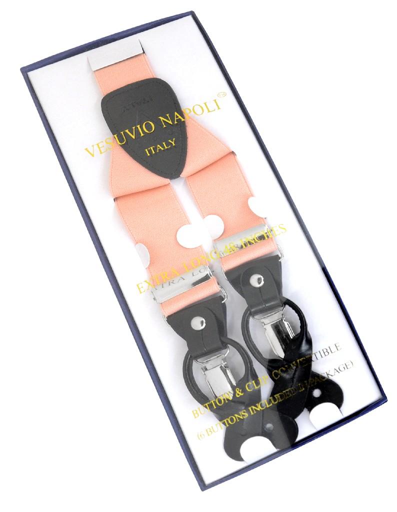 Men's Solid PEACH SUSPENDERS Y Shape Back Elastic Button & Clip Convertible