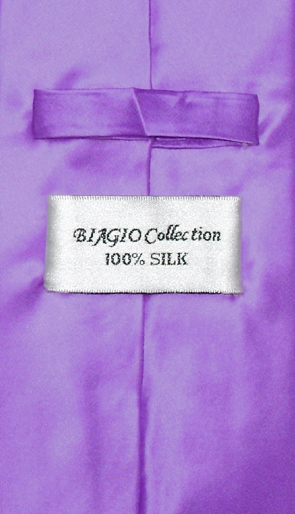 Biagio 100% SILK NeckTie EXTRA LONG Solid PURPLE Color Men's XL Neck Tie