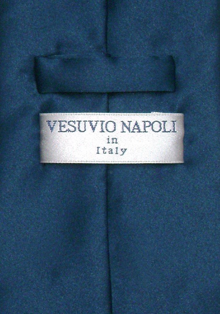 Vesuvio Napoli Solid BLUE SAPPHIRE Color NeckTie Handkerchief Men's Neck Tie Set