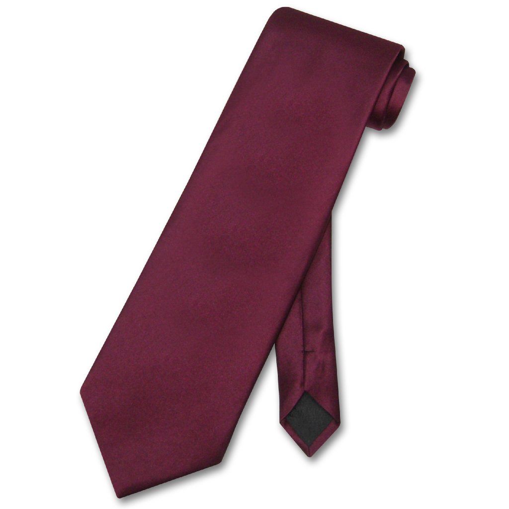 Vesuvio Napoli NeckTie Solid BURGUNDY Color Men's Neck Tie