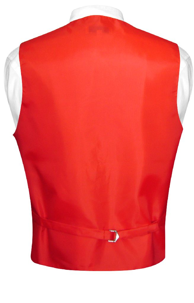 Men's Dress Vest & NeckTie Solid RED Color Neck Tie Set for Suit or Tuxedo
