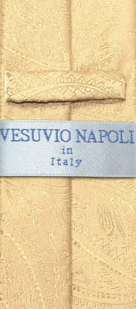 """Vesuvio Napoli Narrow NeckTie Solid GOLD Color Paisley 2.5"""" Skinny Mens Neck Tie"""