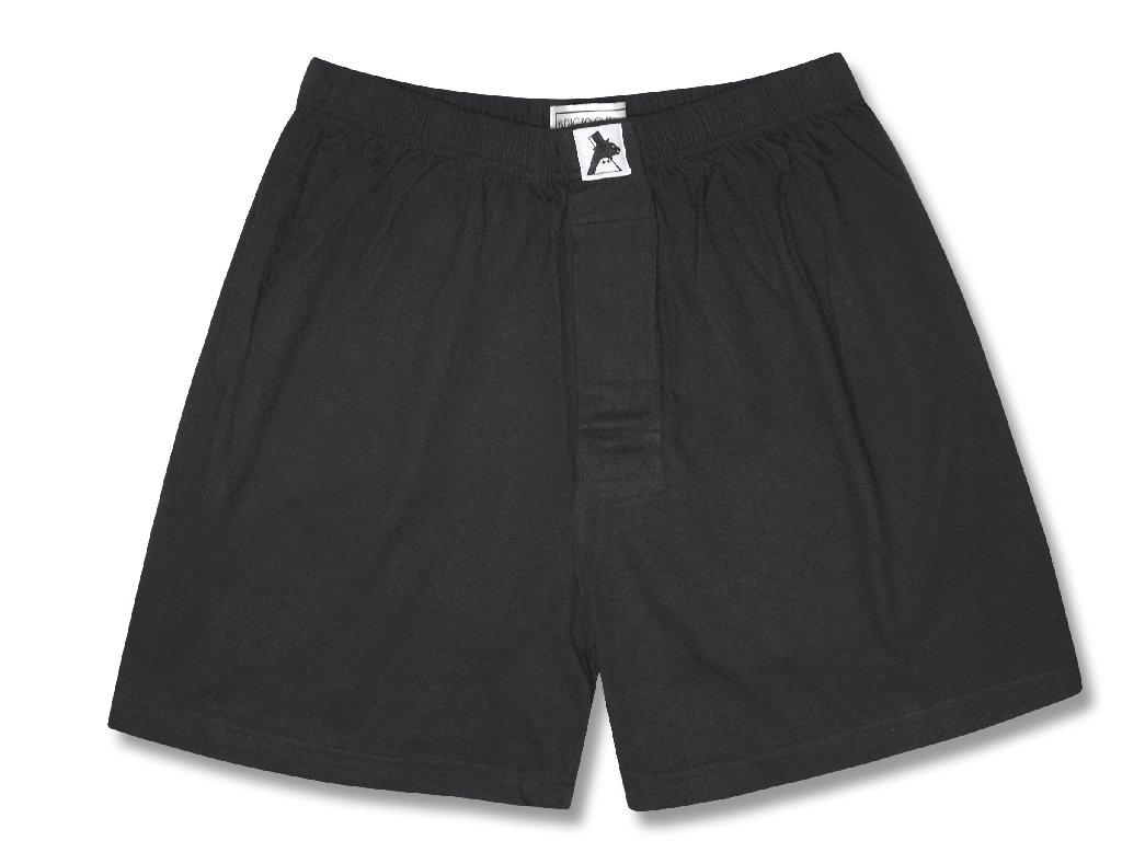 Biagio Men's Solid BLACK Color BOXER 100% Knit Cotton Shorts