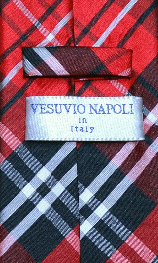 Vesuvio Napoli NeckTie Black Red White PLAID Design Men's Neck Tie