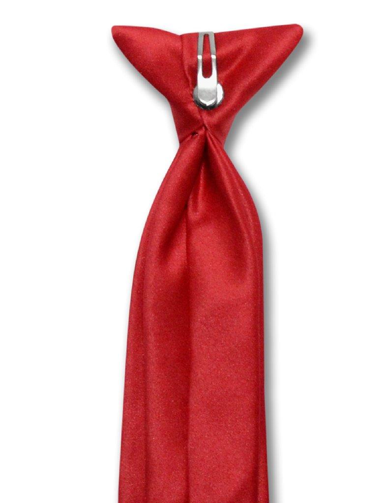 Vesuvio Napoli Boy's CLIP-ON NeckTie Solid RED Color Youth Neck Tie
