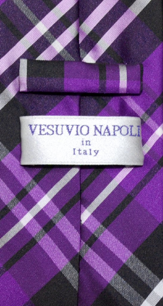 Vesuvio Napoli NeckTie Purple Black White PLAID Design Men's Neck Tie