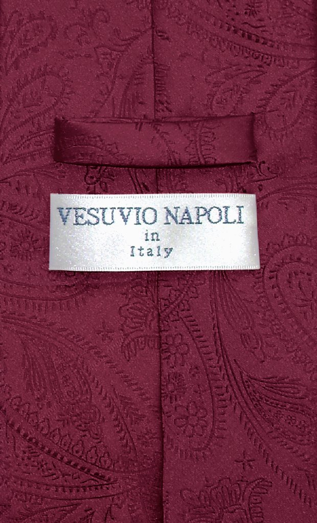 Vesuvio Napoli NeckTie BURGUNDY Color Paisley Design Men's Neck Tie