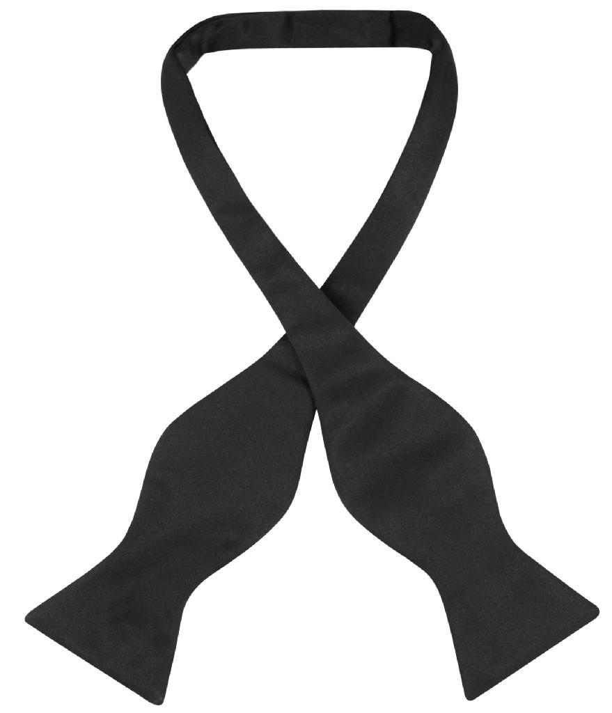 Vesuvio Napoli SELF TIE Bow Tie Solid BLACK Color Men's BowTie