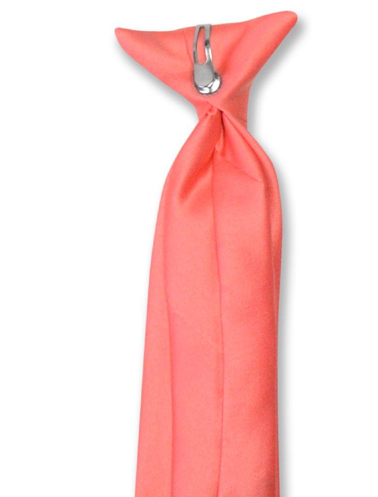 Vesuvio Napoli Boy's CLIP-ON NeckTie Solid CORAL PINK Color Youth Neck Tie