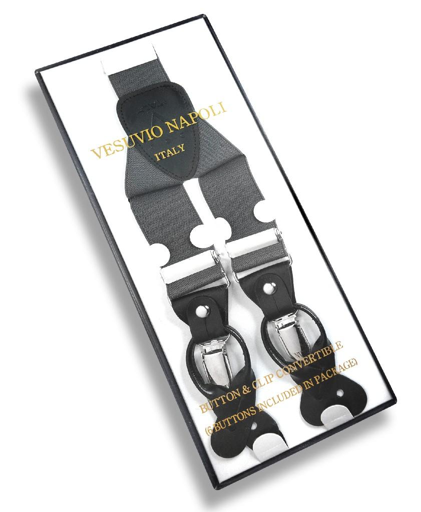 Men's CHARCOAL GREY SUSPENDERS Y Shape Back Elastic Button & Clip Convertible