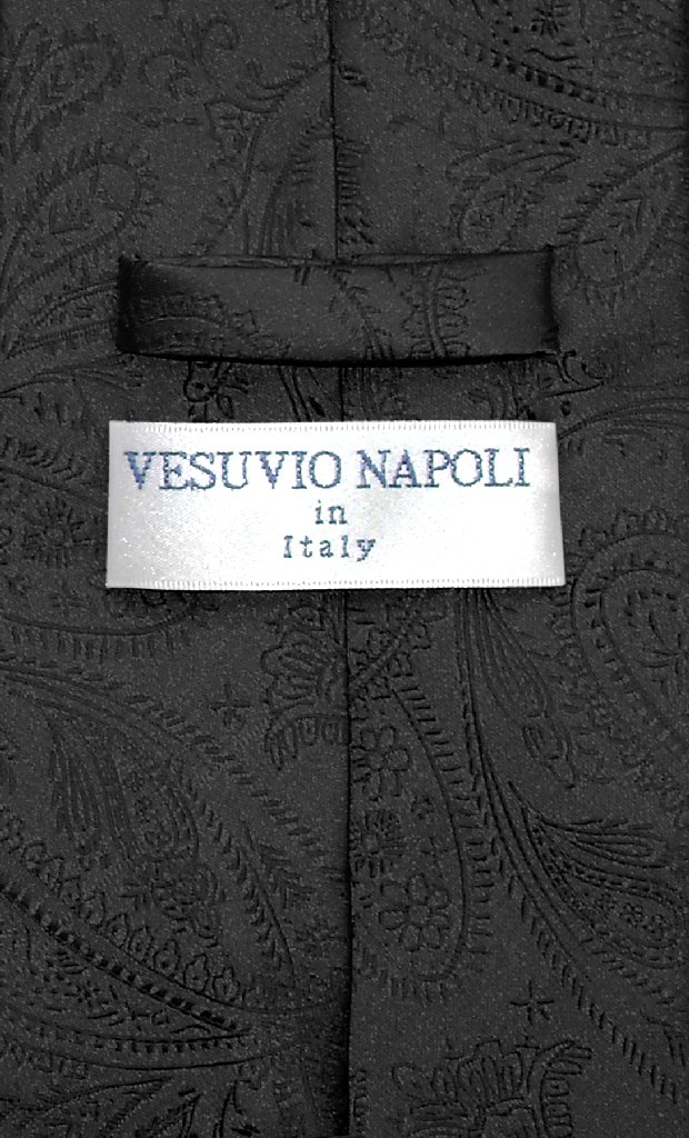 Vesuvio Napoli NeckTie BLACK Color Paisley Design Men's Neck Tie
