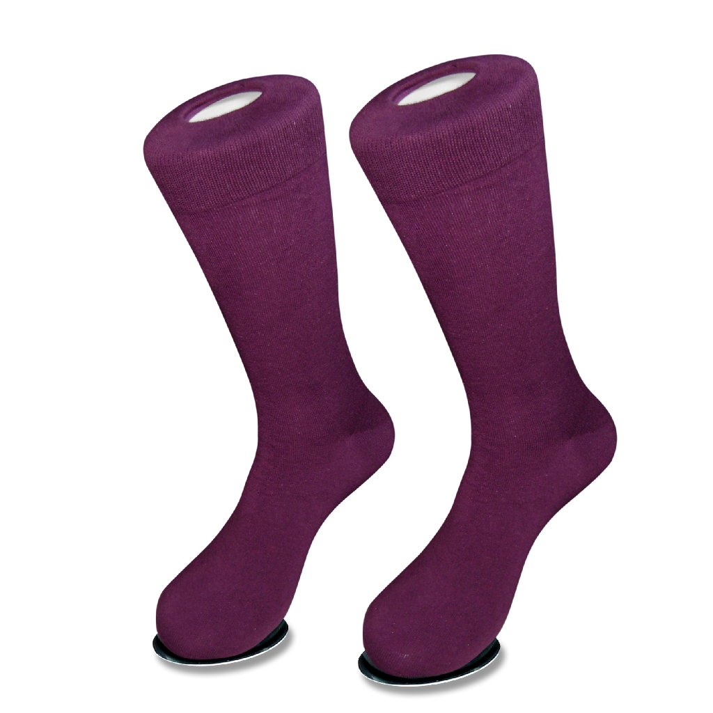 1 Pair of Biagio Solid Dark PURPLE Color Men's COTTON Dress SOCKS