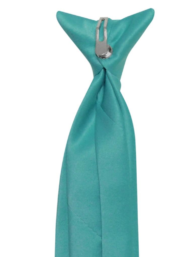 Vesuvio Napoli Boy's CLIP-ON NeckTie Solid TEAL BLUE Color Youth Neck Tie