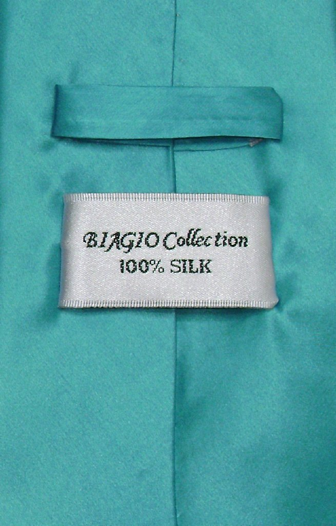 Biagio 100% SILK NeckTie EXTRA LONG Solid TURQUOISE AQUA BLUE Men's XL Neck Tie