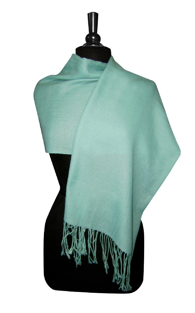 Biagio 100% Wool Pashmina Solid Scarf TURQUOISE BLUE Color Women's Shawl Wrap