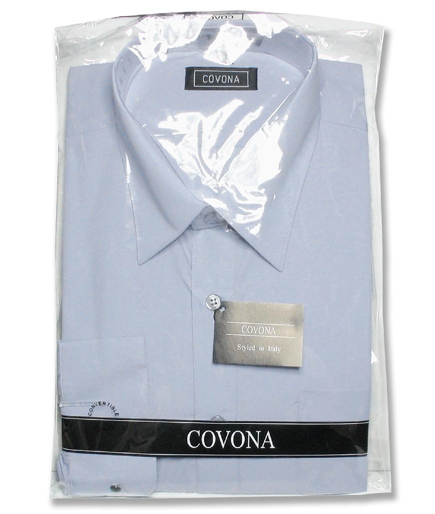 Men's Solid Powder Blue Color Dress Shirt w/ Convertible Cuffs