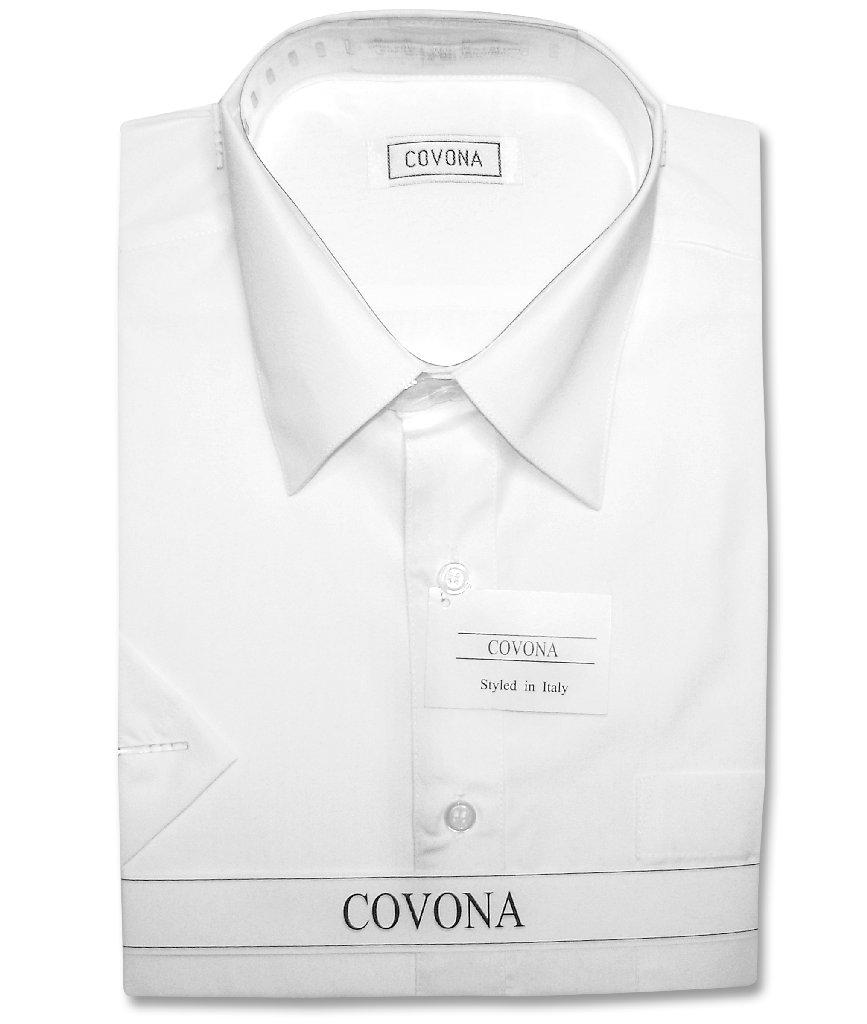 Mens dress shirts long short sleeve solid color cotton for Solid color short sleeve dress shirts