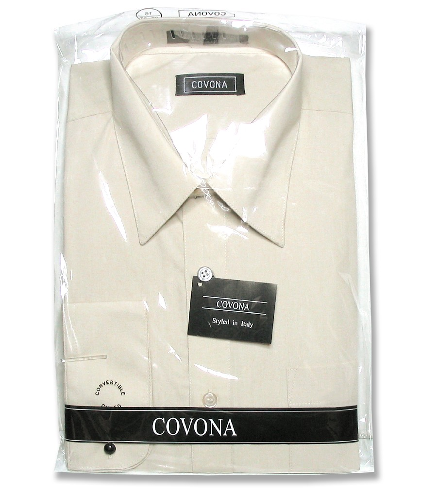 Men's Solid Beige Brown Color Dress Shirt w/ Convertible Cuffs