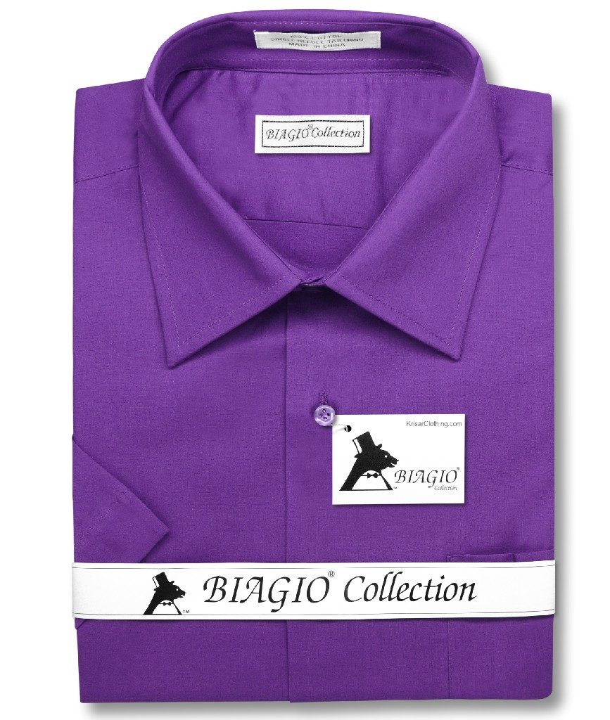 Purple indigo mens short sleeve dress shirt biagio for Royal purple mens dress shirts